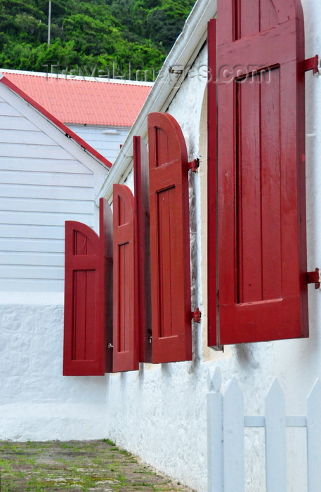 saba77: Windwardside, Saba: St Paul's Conversion church - red shutters - photo by M.Torres - (c) Travel-Images.com - Stock Photography agency - Image Bank