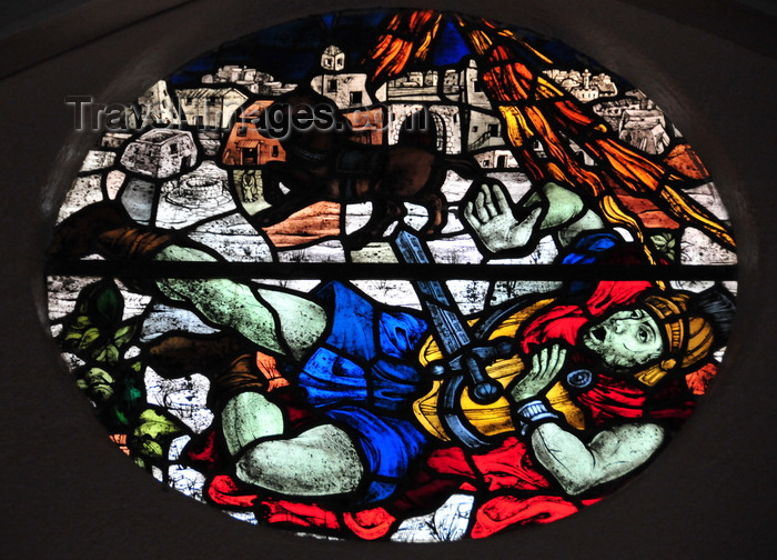 saba78: Windwardside, Saba: fallen Roman soldier - stained glass at St Paul's Catholic church - photo by M.Torres - (c) Travel-Images.com - Stock Photography agency - Image Bank