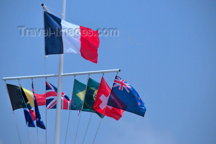 saint-barthelemy38: Gustavia, St. Barts / Saint-Barthélemy: French flag and courtesy flags in the harbour - drapeau tricolore bleu, blanc, rouge - photo by M.Torres - (c) Travel-Images.com - Stock Photography agency - Image Bank