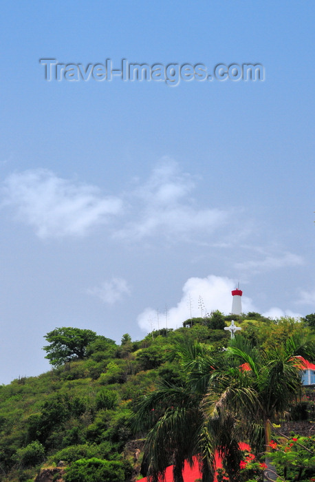 saint-barthelemy41: Gustavia, St. Barts / Saint-Barthélemy: cross and lighthouse - hill of the Swedish fort, Fort Gustave - Phare de Gustavia - photo by M.Torres - (c) Travel-Images.com - Stock Photography agency - Image Bank