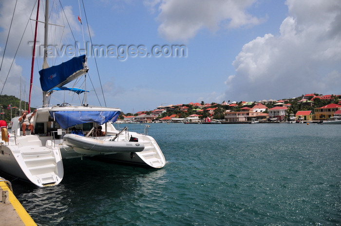 saint-barthelemy43: Gustavia, St. Barts / Saint-Barthélemy: aft view of the catamaran Kuthali - Gustavia harbour - photo by M.Torres - (c) Travel-Images.com - Stock Photography agency - Image Bank