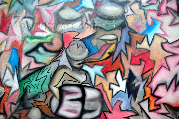 sao-tome162: Guadalupe, Lobata district, São Tomé and Príncipe / STP: jigsaw graffiti / mural - photo by M.Torres - (c) Travel-Images.com - Stock Photography agency - Image Bank