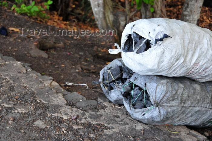 sao-tome173: Ribeira Funda, Lembá district, São Tomé and Príncipe / STP: charcoal bags for sale by the road-side / sacos de carvão à venda junto à estrada - photo by M.Torres - (c) Travel-Images.com - Stock Photography agency - Image Bank