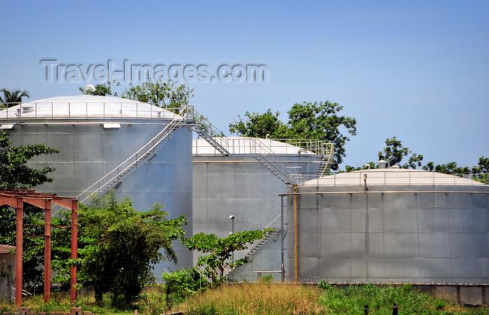 sao-tome176: Neves, Lembá district, São Tomé and Príncipe / STP: fuel tanks near the harbour / tanques de combustível junto ao porto  - photo by M.Torres - (c) Travel-Images.com - Stock Photography agency - Image Bank