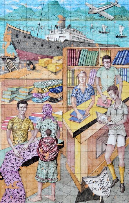 sao-tome297: São Tomé, São Tomé and Príncipe / STP: National Lyceum - tiles representing commerce - waterfront avenue / o comércio - painel de azulejos no Liceu Nacional, ex-Escola Técnica Silva Cunha - Av. Marginal - photo by M.Torres - (c) Travel-Images.com - Stock Photography agency - Image Bank