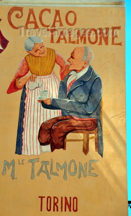 sardinia103: Iglesias /  Igrèsias, Carbonia-Iglesias province, Sardinia / Sardegna / Sardigna: Piazza A.Lamarmora - early 20th century mural ad -  Talmone hot chocolate - Palazzina Liberty - photo by M.Torres - (c) Travel-Images.com - Stock Photography agency - Image Bank