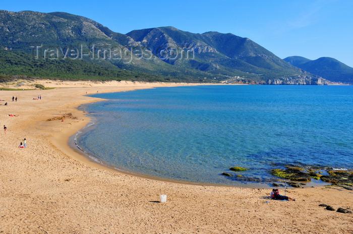 sardinia126: Portixeddu, Fluminimaggiore, Carbonia-Iglesias province, Sardinia / Sardegna / Sardigna: the beach and the mountains - esuary of the Mannu river - photo by M.Torres - (c) Travel-Images.com - Stock Photography agency - Image Bank
