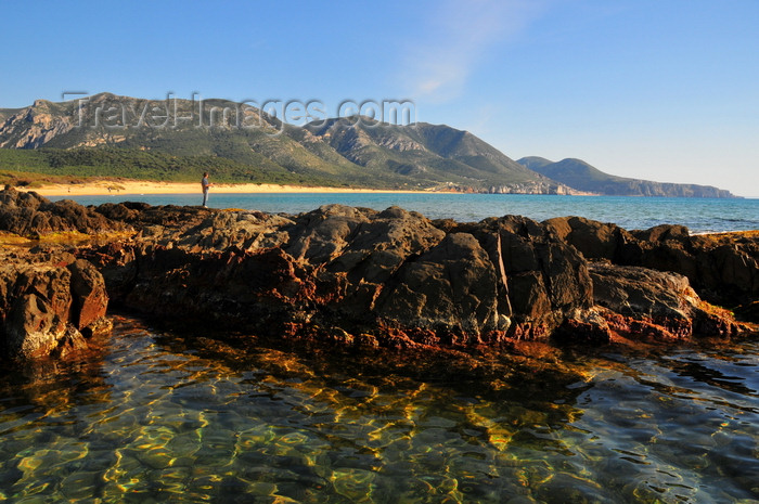 sardinia129: Portixeddu, Fluminimaggiore, Carbonia-Iglesias province, Sardinia / Sardegna / Sardigna: the beach - rocks and emerald waters of the Golfo del Leone - photo by M.Torres - (c) Travel-Images.com - Stock Photography agency - Image Bank