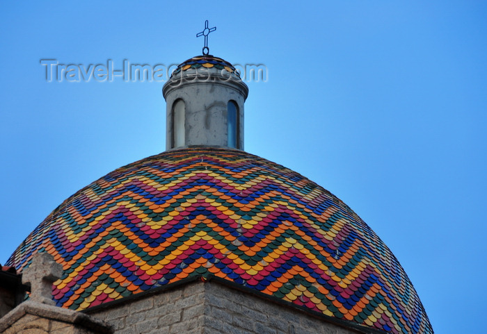 sardinia13: Olbia / Terranoa / Tarranoa, Olbia-Tempio province, Sardinia / Sardegna / Sardigna: dome with colourful shingles of the church of St. Paul - chiesa di san Paolo - photo by M.Torres - (c) Travel-Images.com - Stock Photography agency - Image Bank