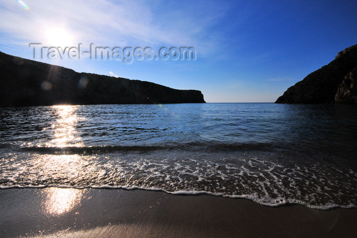 sardinia135: Cala Domestica, Buggerru, Sardinia / Sardegna / Sardigna: beach and sun - until the 1950s this was a port used by the mines in the area - photo by M.Torres - (c) Travel-Images.com - Stock Photography agency - Image Bank