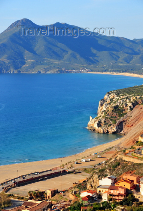 sardinia139: Buggerru, Sardinia / Sardegna / Sardigna: view of the beach with the small bay of Portixeddu in the background - rocky promontory - photo by M.Torres - (c) Travel-Images.com - Stock Photography agency - Image Bank