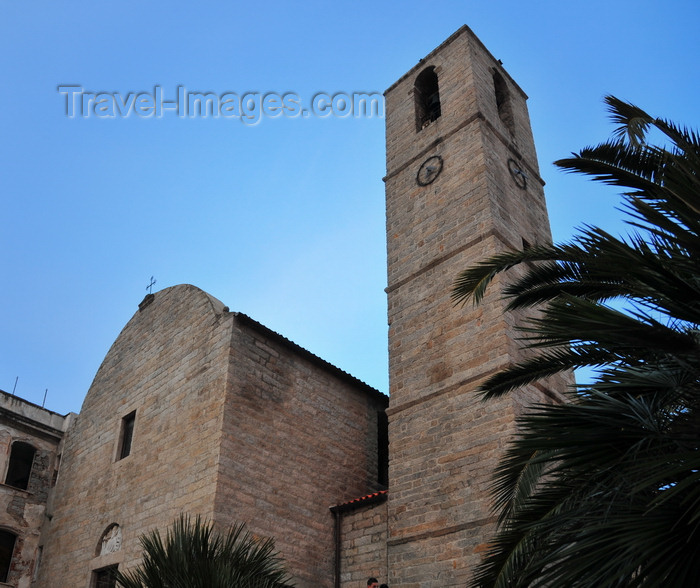 sardinia14: Olbia / Terranoa / Tarranoa, Olbia-Tempio province, Sardinia / Sardegna / Sardigna: under the tower of St. Paul's church - chiesa di san Paolo - photo by M.Torres - (c) Travel-Images.com - Stock Photography agency - Image Bank