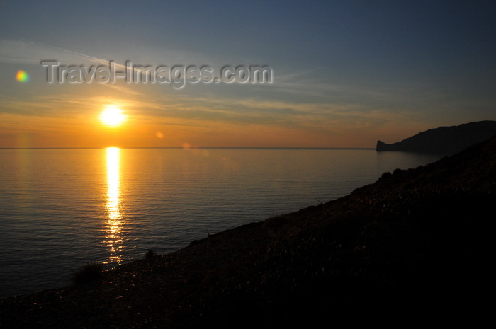 sardinia145: Nebida, Sardinia / Sardegna / Sardigna: sunset on the Gonnesa gulf, looking towards Porto Flavia - Mediterranean sea - photo by M.Torres - (c) Travel-Images.com - Stock Photography agency - Image Bank