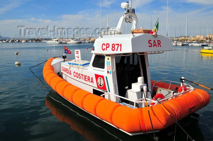 sardinia151: Alghero / L'Alguer, Sassari province, Sardinia / Sardegna / Sardigna: Coast Guard speed boat in the harbour - Guardia Costiera - photo by M.Torres - (c) Travel-Images.com - Stock Photography agency - Image Bank