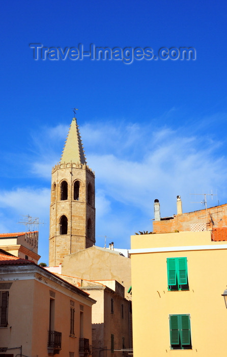 sardinia174: Alghero / L'Alguer, Sassari province, Sardinia / Sardegna / Sardigna: the tower of the Cathedral of Santa Maria rises above the houses of the historical centre - photo by M.Torres - (c) Travel-Images.com - Stock Photography agency - Image Bank