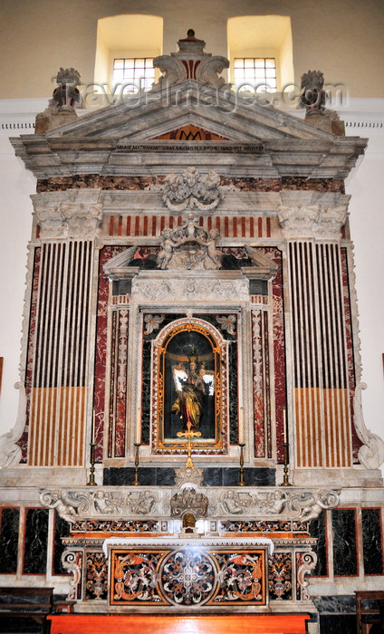 sardinia20: Bari Sardo, Ogliastra province, Sardinia / Sardegna / Sardigna: church of the Virgin of Montserrat - altar with wooden statue of Our Lady of the Rosary, by the Neapolitan artist Gaetano Franzese - photo by M.Torres - (c) Travel-Images.com - Stock Photography agency - Image Bank
