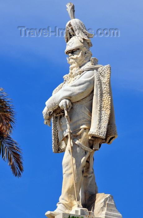 sardinia201: Sassari / Tàthari , Sassari province, Sardinia / Sardegna / Sardigna: Piazza d' Italia - statue of Vittorio Emanuele II in a Prussian posture - first of King of a united Italy - photo by M.Torres - (c) Travel-Images.com - Stock Photography agency - Image Bank