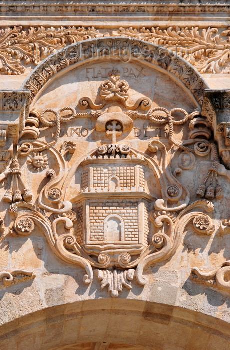 sardinia221: Sassari / Tàthari , Sassari province, Sardinia / Sardegna / Sardigna: Cathedral of St. Nicholas of Bari - coat of arms - 'Fiat Pax' - façade detail - photo by M.Torres - (c) Travel-Images.com - Stock Photography agency - Image Bank
