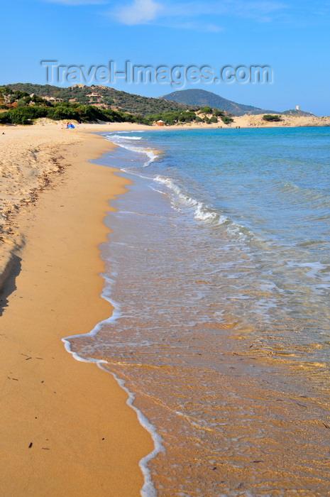 sardinia234: Baia di Chia, Domus de Maria municipality, Cagliari province, Sardinia / Sardegna / Sardigna: beach Monte Cogoni, and Cape Spartivento - photo by M.Torres - (c) Travel-Images.com - Stock Photography agency - Image Bank