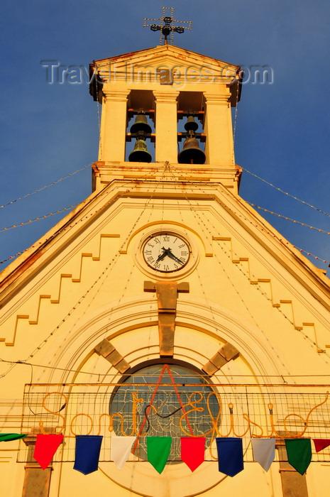 sardinia247: Pula, Cagliari province, Sardinia / Sardegna / Sardigna: gable façade of the Chiesa di San Giovanni Battista - Sant'Efisio sign - photo by M.Torres - (c) Travel-Images.com - Stock Photography agency - Image Bank