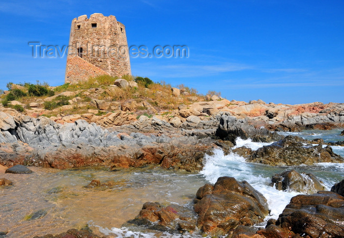 sardinia26: Bari Sardo, Ogliastra province, Sardinia / Sardegna / Sardigna: Torre di Bari - 17th century Aragonese defensive tower resists the waves of the Tyrrhenian Sea - in windy days this is a good beach for surfers - photo by M.Torres - (c) Travel-Images.com - Stock Photography agency - Image Bank