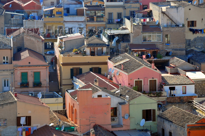 sardinia305: Cagliari, Sardinia / Sardegna / Sardigna: roof tops of the houses under quartiere Castello, seen from Bastione de Santa Croce - photo by M.Torres - (c) Travel-Images.com - Stock Photography agency - Image Bank