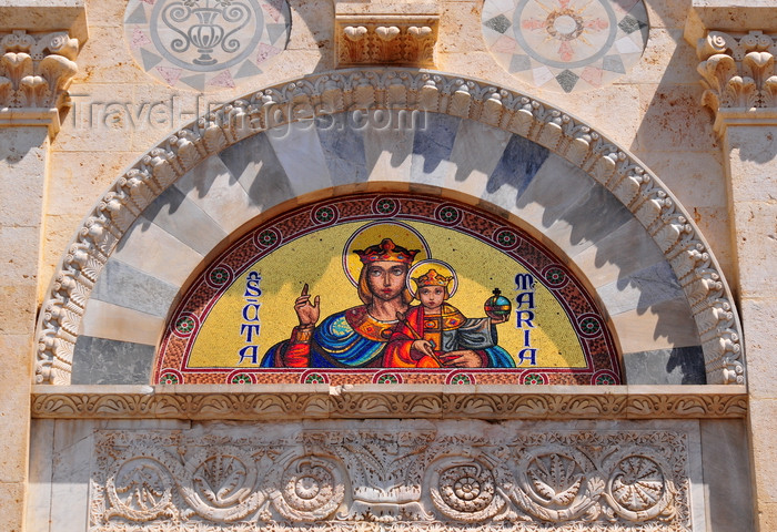 sardinia324: Cagliari, Sardinia / Sardegna / Sardigna: façade of the Cathedral of Saint Mary - Theotokos mosaic in a lunette - Mary God-bearer - the Virgin and Jesus - lintel of the portal from the original Romanesque building, decorated with floral motifs - Cattedrale di Santa Maria di Castello - Duomo - quartiere Castello - photo by M.Torres - (c) Travel-Images.com - Stock Photography agency - Image Bank