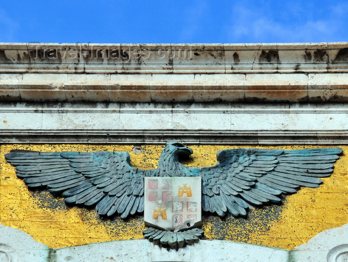 sardinia346: Cagliari, Sardinia / Sardegna / Sardigna: bronze eagle over golden mosaic, bearing the coat of arms of Cagliari - central element of the façade of the City Hall / Palazzo Civico - Via Roma - Piazza Matteotti - quartiere Stampace - photo by M.Torres - (c) Travel-Images.com - Stock Photography agency - Image Bank