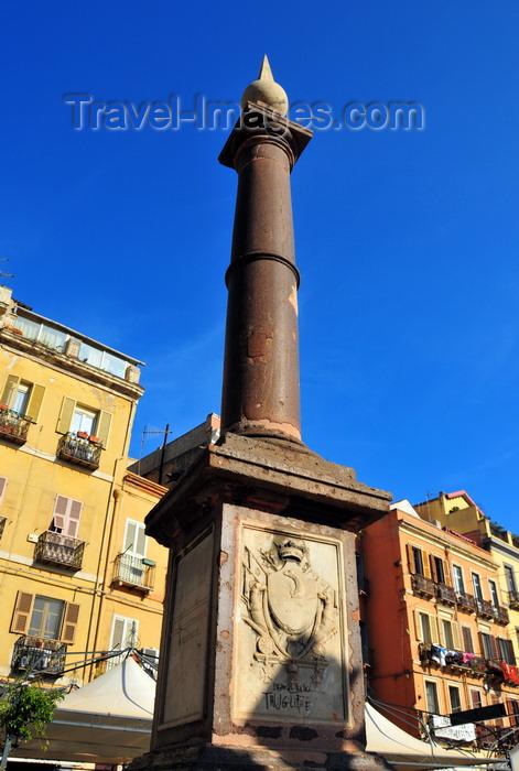 sardinia358: Cagliari, Sardinia / Sardegna / Sardigna: Piazza Yenne - obelisk marking km zero of the Carlo Felice road / SS 131 / Strada Reale - Andrea Galassi - centro storico - quartiere di Stampace - photo by M.Torres - (c) Travel-Images.com - Stock Photography agency - Image Bank