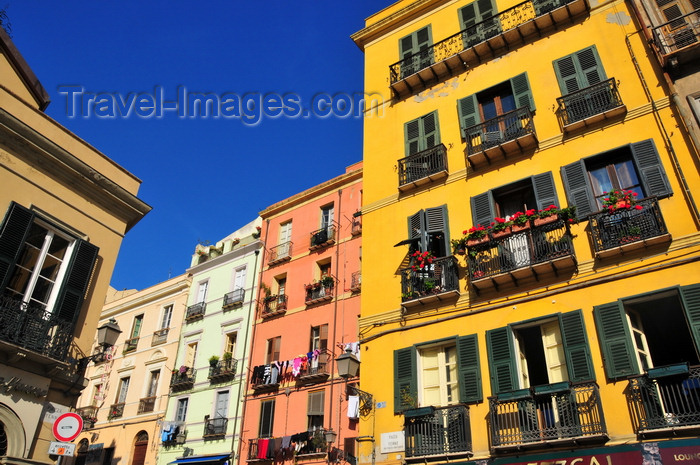 sardinia361: Cagliari, Sardinia / Sardegna / Sardigna: buildings of Scalette Santa Chiara, seen from Piazza Yenne - quartiere di Stampace - photo by M.Torres - (c) Travel-Images.com - Stock Photography agency - Image Bank
