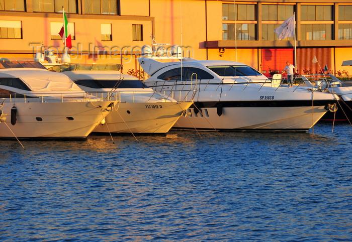 sardinia370: Cagliari, Sardinia / Sardegna / Sardigna: yachts in front of the firefighters building / Vigili del Fuoco - Molo della Dogana - quartiere Marina - photo by M.Torres - (c) Travel-Images.com - Stock Photography agency - Image Bank