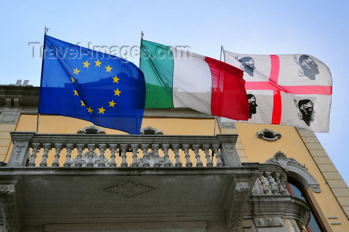 sardinia4: Olbia / Terranoa / Tarranoa, Olbia-Tempio province, Sardinia / Sardegna / Sardigna: European, Italian and Sardinian flags at the City Hall - Municipio di Olbia - photo by M.Torres - (c) Travel-Images.com - Stock Photography agency - Image Bank