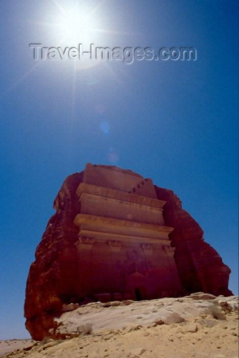 saudi-arabia114: Saudi Arabia - Madain Salah / Madain Saleh: Qasr Farid / Qasr Al Farid tomb under the Arabian sun - carved from an isolated rock built for Haian Ibn Koza (photo by F.Rigaud) - (c) Travel-Images.com - Stock Photography agency - Image Bank