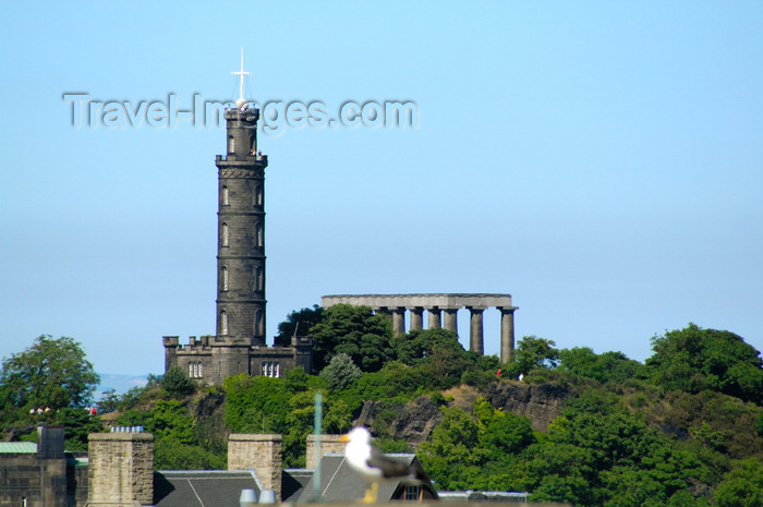 scot119: Scotland - Edinburgh: Calton Hill - Nelson's Monument tower and a replica of the Parthenon are visible - photo by C.McEachern - (c) Travel-Images.com - Stock Photography agency - Image Bank