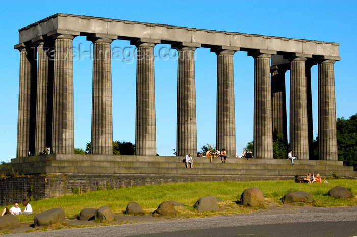 scot134: Scotland - Edinburgh: National Monument - the Athens of the north, this replica of the Parthenon waserected on Calton Hill in the 1820's - the money ran out and it was neverfinished but remains part of the skyline to this day - photo by C.McEachern - (c) Travel-Images.com - Stock Photography agency - Image Bank