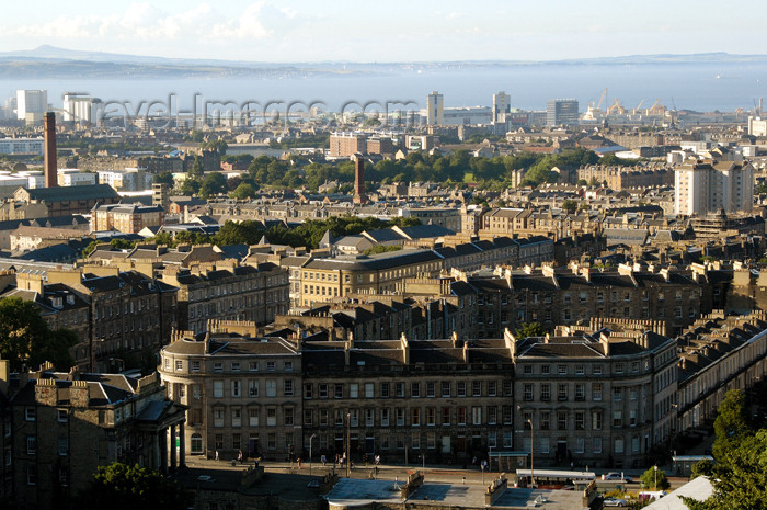 scot135: Scotland - Edinburgh: view north from Calton Hill over New Town and Leith to the Firth of Forth - photo by C.McEachern - (c) Travel-Images.com - Stock Photography agency - Image Bank