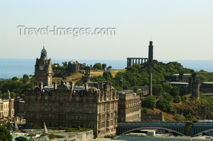 scot141: Scotland - Edinburgh: view of Calton Hill from Edinburgh Castle - visible are the National Monument (acropolis), Nelson Monument,Observatory, Stewart Memorial, North Bridge and clock Tower of the Balmoral Hotel - photo by C.McEachern - (c) Travel-Images.com - Stock Photography agency - Image Bank