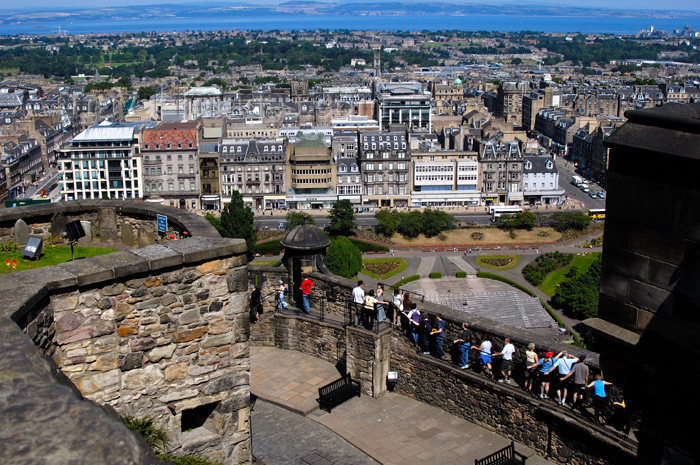 scot142: Scotland - Edinburgh: view of New Town, Princes Street and the Firth of Forth in the background from Edinburgh Castle - photo by C.McEachern - (c) Travel-Images.com - Stock Photography agency - Image Bank