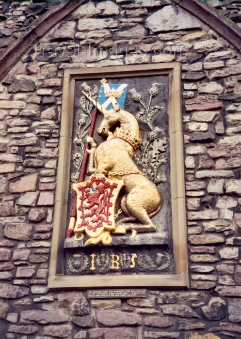 scot2: Scotland - Ecosse - Edinburgh: ocal heraldic on the Golden Mile - coat of arms of King James the fifth - unicorn - photo by M.Torres - (c) Travel-Images.com - Stock Photography agency - Image Bank