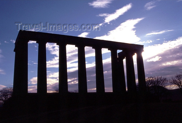 scot34: Scotland - Ecosse - Edinburgh: National Monument - Greek temple at dusk - homage to the victims of the Napoleonic Wars - photo by F.Rigaud - (c) Travel-Images.com - Stock Photography agency - Image Bank