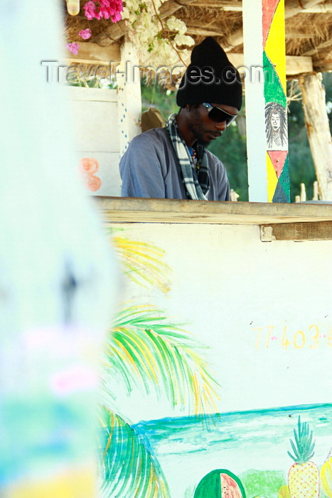 senegal115: Cap Skirring, Oussouye, Basse Casamance (Ziguinchor), Senegal: Barman, Bar on the beach / Barman de um bar de praia - photo by R.V.Lopes - (c) Travel-Images.com - Stock Photography agency - Image Bank