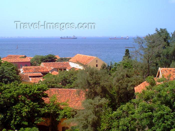 senegal119: Gorée Island / Île de Gorée, Dakar, Senegal: rooftops and the ocean - photo by T.Trenchard - (c) Travel-Images.com - Stock Photography agency - Image Bank