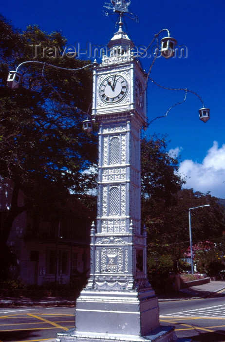 seychelles1: Mahé / SEZ / Mahe island, Seychelles: Victoria - replica of the clock tower on London's Vauxhall Bridge - 'Lorloz' - tourist attraction - photo by F.Rigaud - (c) Travel-Images.com - Stock Photography agency - Image Bank