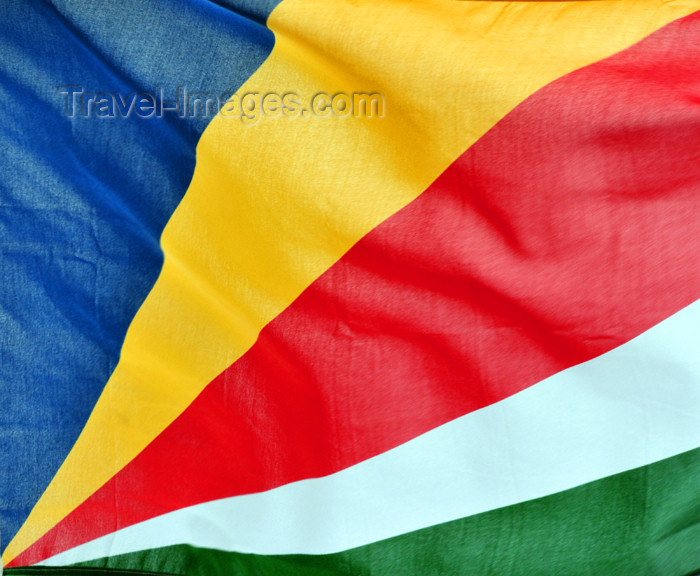 seychelles122: Mahe, Seychelles: Eden Island - Seychelles flag in the wind - photo by M.Torres - (c) Travel-Images.com - Stock Photography agency - Image Bank