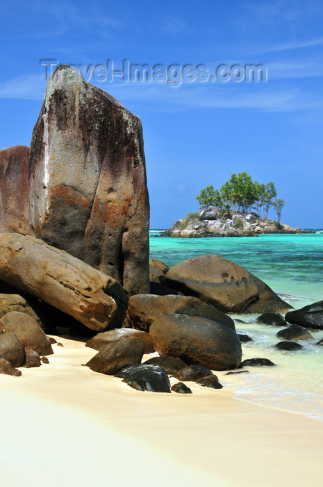 seychelles130: Mahe, Seychelles: Anse Royal - ile Souris, beach and natural menhir - photo by M.Torres - (c) Travel-Images.com - Stock Photography agency - Image Bank