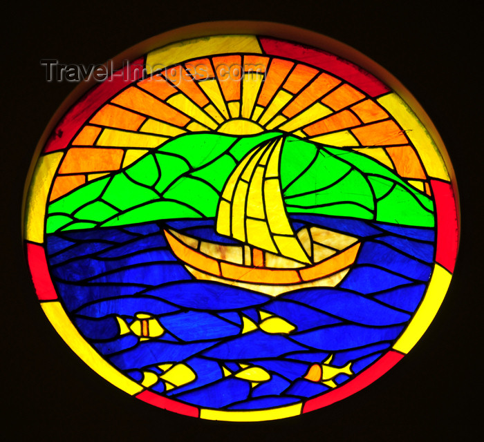seychelles142: Mahe, Seychelles: Pointe Larue - stained glass oculus in the Church- photo by M.Torres - (c) Travel-Images.com - Stock Photography agency - Image Bank