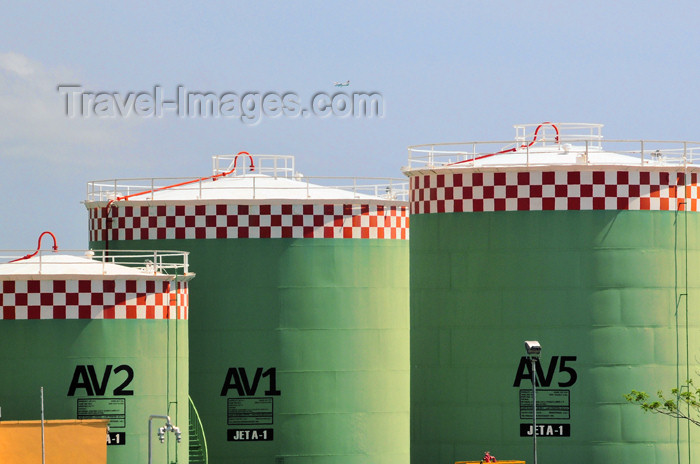 seychelles146: Mahe, Seychelles: fuel storage tanks - Seychelles International Airport - SEZ - photo by M.Torres - (c) Travel-Images.com - Stock Photography agency - Image Bank