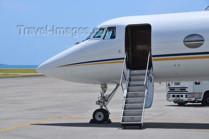 seychelles150: Mahe, Seychelles: Grumman G-1159 Gulfstream II-SP ZS-LOG (cn 19) - front with open door - Seychelles International Airport - SEZ - photo by M.Torres - (c) Travel-Images.com - Stock Photography agency - Image Bank