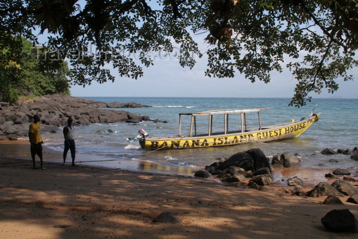 sierra-leone2: Banana Island, Sierra Leone: the guesthouse's 'shuttle' boat - photo by J.Britt-Green - (c) Travel-Images.com - Stock Photography agency - Image Bank