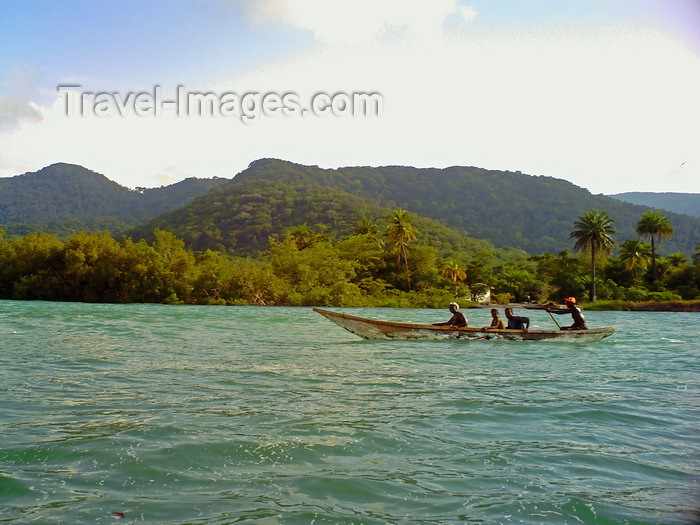 sierra-leone7: Guma River, Freetown Peninsula, Sierra Leone: wooden boat on the Guma River at River No.2 Beach - photo by T.Trenchard - (c) Travel-Images.com - Stock Photography agency - Image Bank